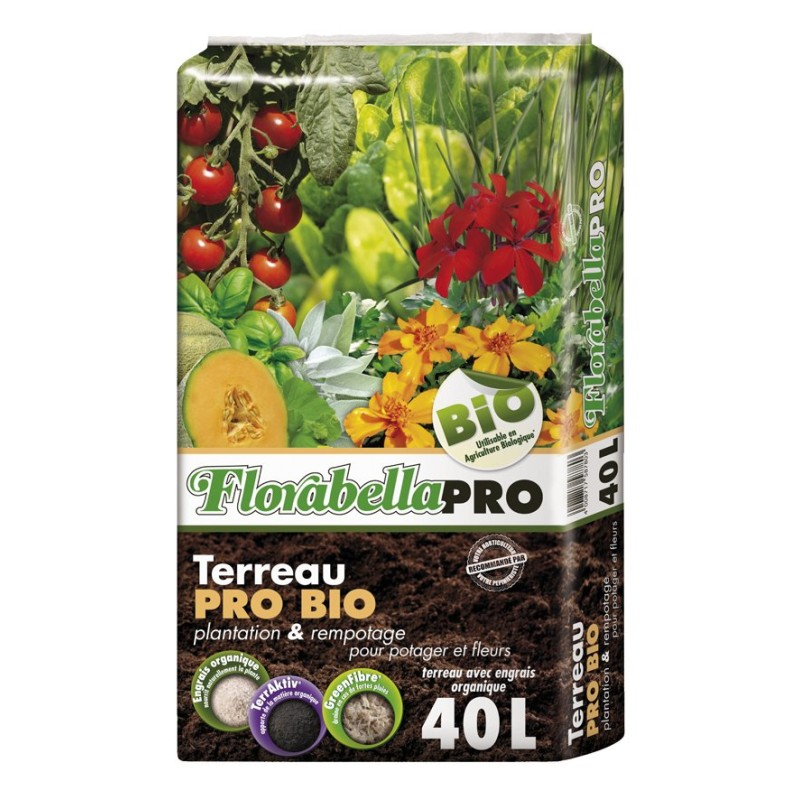 Terreau Florabella Pro Bio, sac de 40 litres