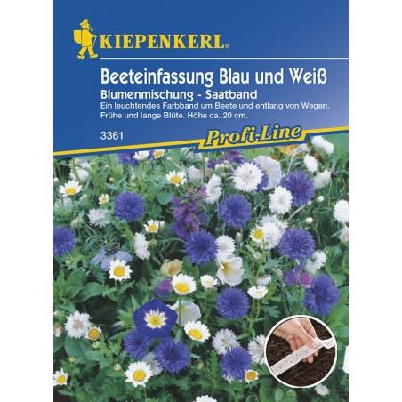 Mélange de fleurs bleues et blanches pour bordures de plate-bande, ruban présemé